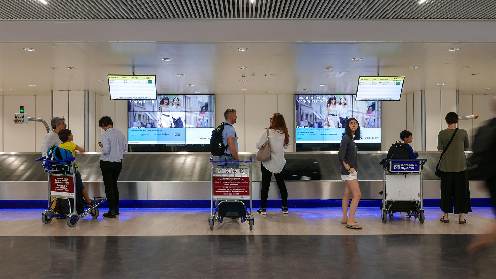 Monitors and digital signage in airport